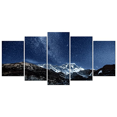 Pyradecor Blue Giclee Canvas Prints Wall Art Starry Night Sky Over Snowy Mountain Pictures Paintings for Living Room Bedroom Home Office Decorations 5 Piece Modern Milky Way Landscape Romance Artwork