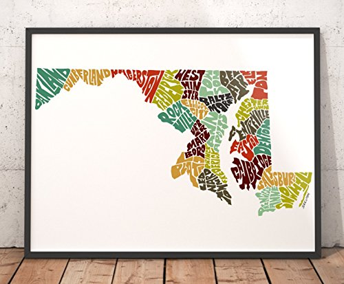 MARYLAND Map Art Print, Typography Map Art, State Map Wall Décor featuring city names, artist signed print from hand-drawn city typography series of maps