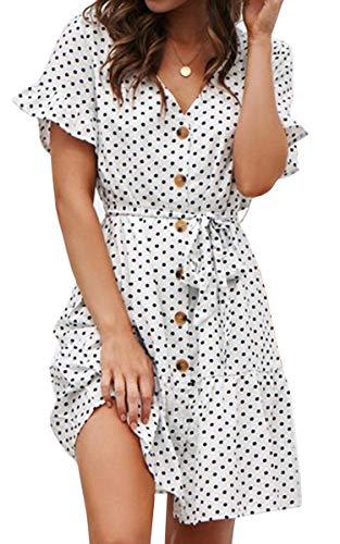 (ECOWISH Women's V Neck Polka Dot Button Down Ruffles Mini Sexy Dress Short Sleeve Wrap Summer Dresses with Belt 960White Medium)