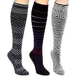 Sockwell 15-20mmHg Compression Socks 3 Pack (Berry/Charcoal/Grey Dots, M/L)