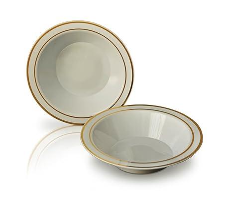 """""""ocasiones platos desechables (plástico, marfil/hueso con borde dorado ("""