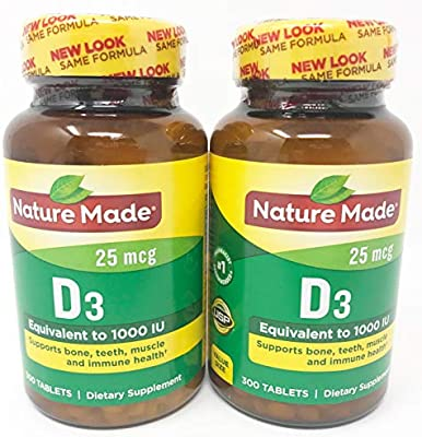 Amazon Com Nature Made Vitamin D3 1000 Iu Tablets 300 Ct Pack Of 2 Health Personal Care