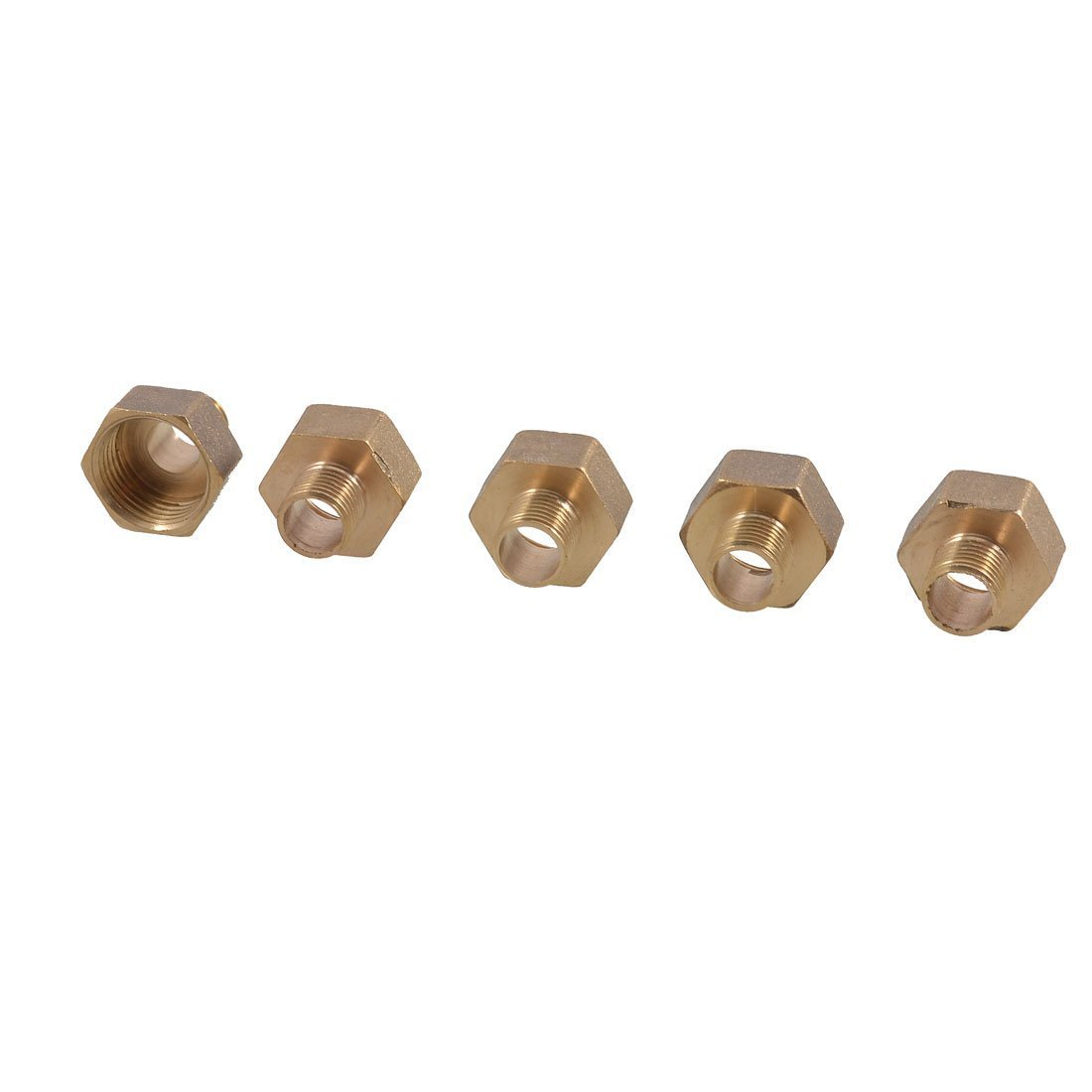 uxcell 5 x 1//4 to 1//2 Thread Brass Straight Hex Nipples Pipe Reducer Adapters