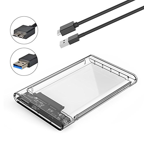ELUTENG External Hard Drive Enclosure 2.5 inch HDD / SSD Case Clear Caddy USB3.0 5Gbps Super Speed SATA Transparent SATA to USB Tool free Box UASP