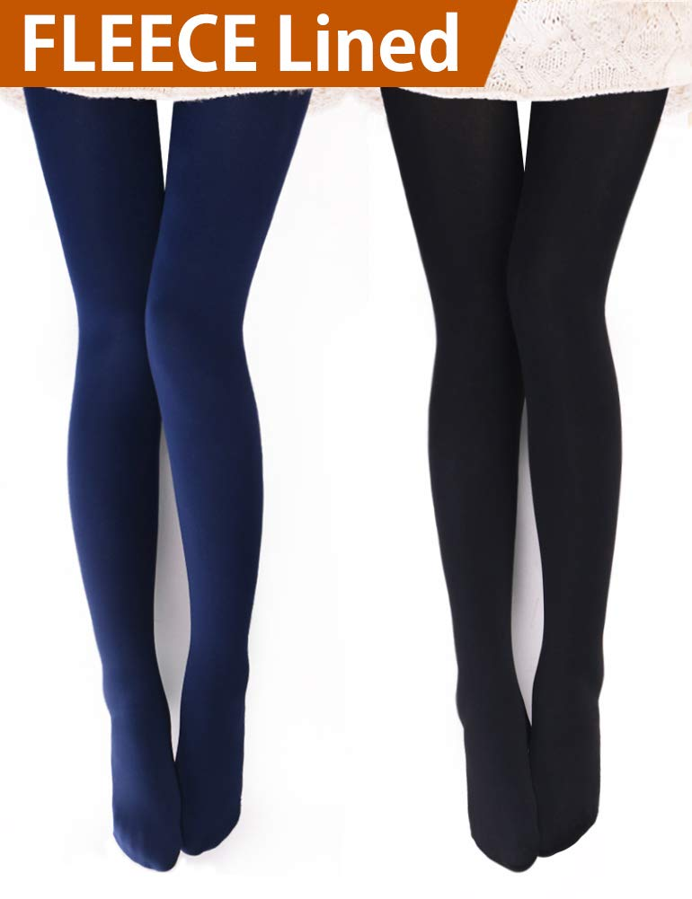 VERO MONTE 2 Pairs Womens Opaque Warm Fleece Lined Tights (BLACK + NAVY) 460411