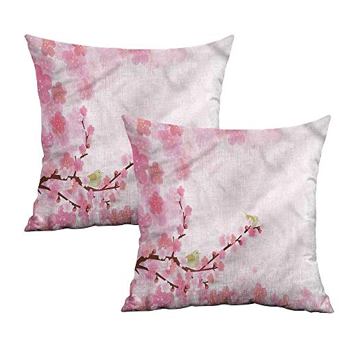 Khaki home Nature Square Travel Pillowcase Japanese Garden in Spring Square Pillowcase Covers with Zipper Cushion Cases Pillowcases for Sofa Bedroom Car W 18