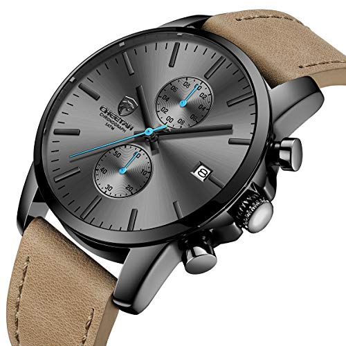 Men's Fashion Sport Quartz Watches with Leather Strap Waterproof Chronograph Watch, Auto Date in Blue Hands, Color: Black, Brown