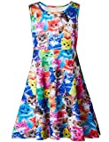 Rave on Friday Toddler Girls Sleeveless Dress Round Neck Colorful Cat Printed Funny Pattern Skater Sundress for Birthday Party 4-5T S