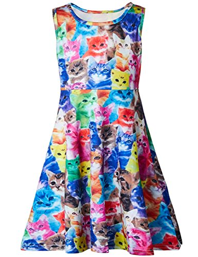 (Funnycokid Grils Cat Dress Kids Sleeveless Summer Dress 6-7 T)