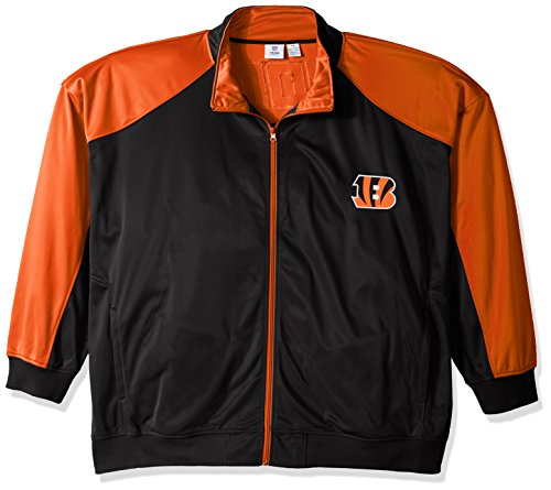 - NFL Cincinnati Bengals Men FULL ZIP TRICOT TRACK JACKET, BLK/ORANGE, 4X