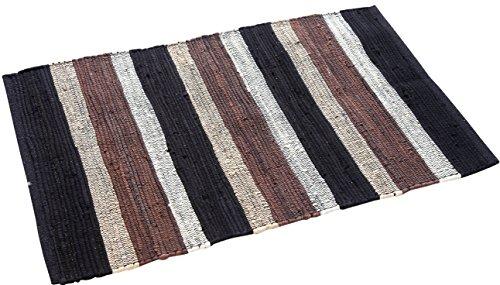 CYBER MONDAY MEGA SALES Trendsetter Homez Chindi Rug Stripe Design 2 x 3 Ft Cotton Hand Woven Flat Weave Area Rug (Black)