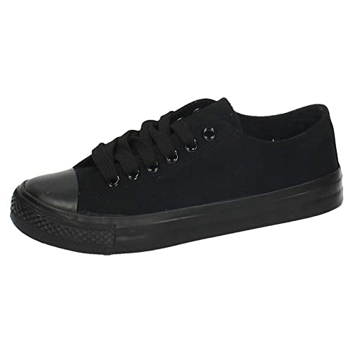 DEMAX S122 Zapatillas DE Lona Mujer Zapatillas Negro 36