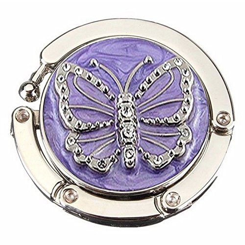 Art Deco Handbag - Zeroyoyo Butterfly Foldable Purse Handbag Folding Bag Hook Table Hanger Holder Womens Bag Storage Zinc Alloy (Purple)