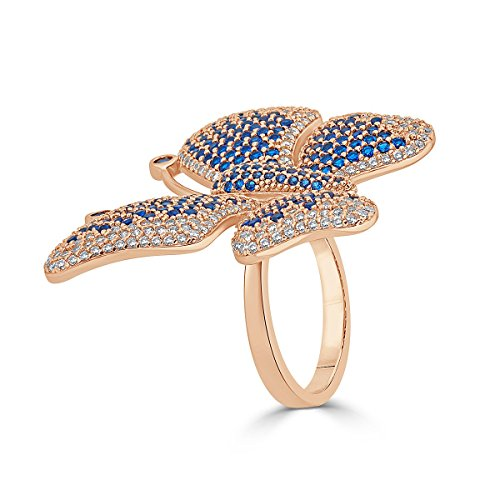 Rose Gold Plated Sterling Silver Cubic Zirconia Pave Butterfly Statement Ring by Caratina
