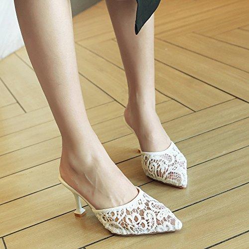 femeninas el tamaño de de punta Baotou Con white sandalias encaje de fina verano expuestas 1Hwqd8