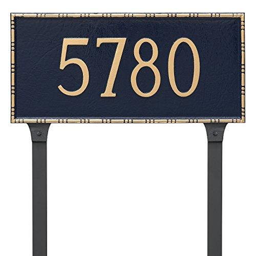 Montague Metal PCS-0077S1-L-NS Lincoln Rectangle One Line Address Sign Plaque with Lawn Stake, 7.5