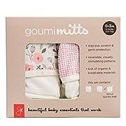 Goumikids goumimitts Soft Stay On Scratch Mittens - (0-3 Months, Enchanted Garden - Drops/Pink)