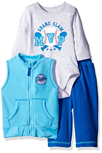 BON BEBE Baby Boys' 3 Piece Microfleece Vest and Pant Set with Side Snap Bodysuit, Mvp Blue, 3-6 Months Polyester Microfleece Vest