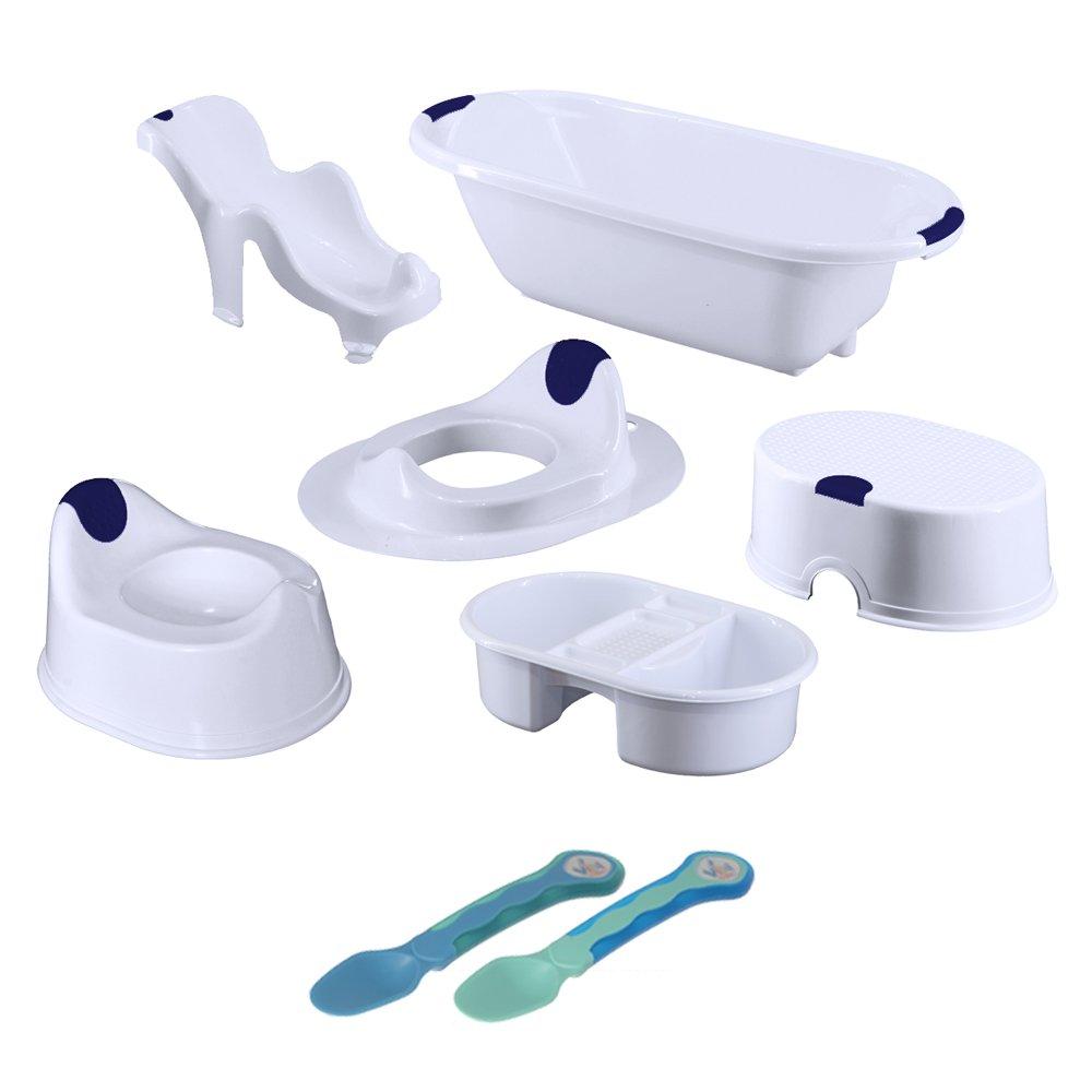 Vital Innovations 06051-01 Bad Hygiene-Set 7-Teilig, weiß/blau weiß/blau