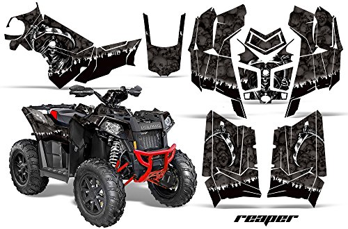 AMRRACING Polaris Scrambler 850 2013-2016 Full Custom UTV Graphics Decal Kit - Reaper Black ()