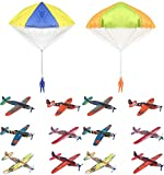 Bundle Includes 14 Items - 2 Aeromax Original Tangle Free Toy Parachute has no strings to tangle and requires no batteries. Simply toss it high and watch it fly! and 12 Rhode Island Novelty Airplanes