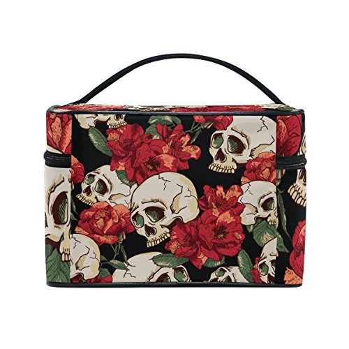 Sugar Skull Dia De Los Muertos Portable Travel Makeup Cosmetic Bags Toiletry Organizer Multifunction Case
