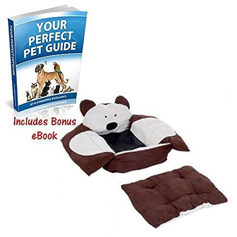 Snuggle perro cama cubierto en Fluffy de piel de imitación tiene un oso frente y lados