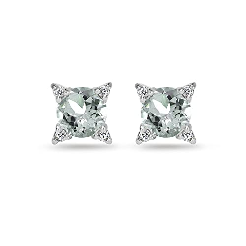 Sterling Silver Genuine, Simulated or Created Gemstone White Topaz Studded Solitaire Stud Earrings
