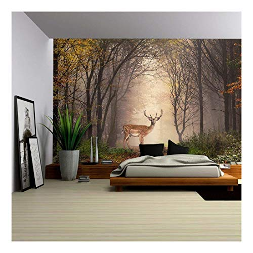 Lights Wallpaper Mural - wall26 - Fallow Deer Standing in a Dreamy Misty Forest, with Beautiful Moody Light in the Middle and Framed by Darker Trees - Removable Wall Mural | Self-adhesive Large Wallpaper - 66x96 inches