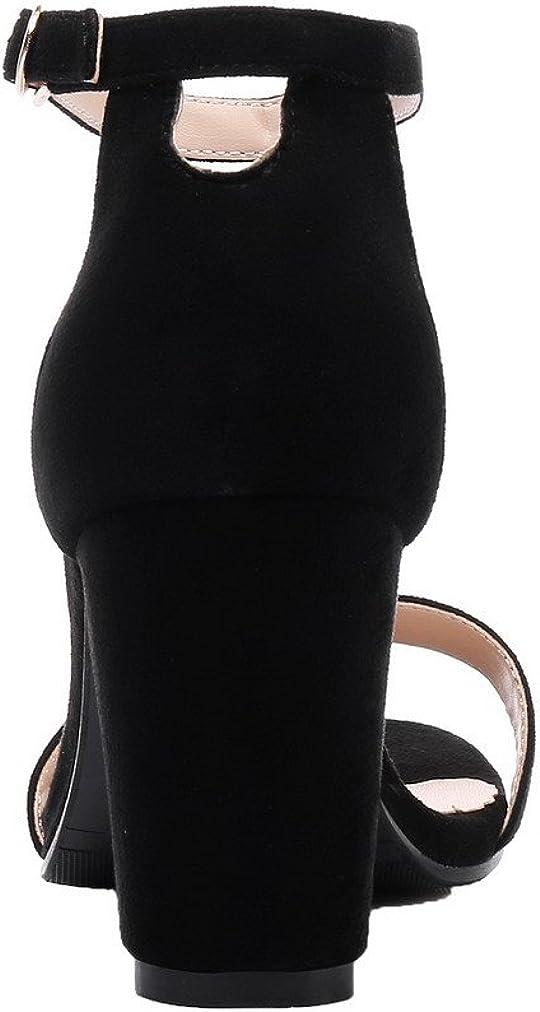 AgooLar Femme Ouverture d'orteil Boucle Couleur Unie à Talon Haut Sandales,GMBLB013410 Noir