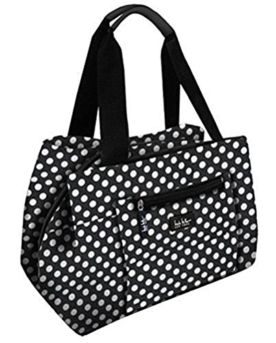 Nicole Miller of New York Insulated Waterproof Lunch  Box Cooler Bag - 11 Lunch Tote (Black and White Polka Dot) ()