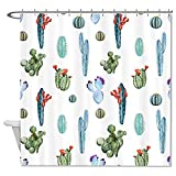 Iandsang Polyester Shower Curtain 72 X 72 Inch, Prickly Pear and Cactus