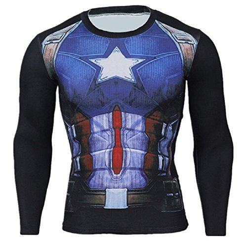 Cosfunmax Superhero Captain Team Leader Compression Shirt Sports Gym Ruining Base Layer -