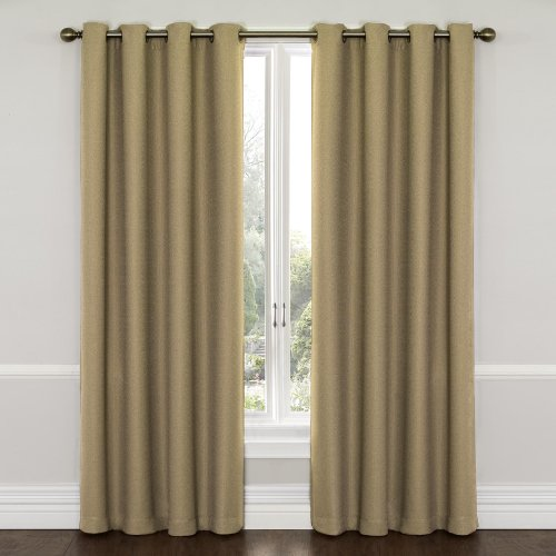 Cheap Eclipse 12968052095LAT Wyndham 52-Inch by 95-Inch Grommet Brushed Nickel Blackout Single Window Curtain Panel, Latte