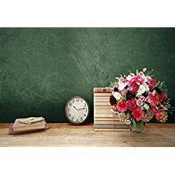 Leyiyi 8x6ft Photography Backgroud Back to School Backdrop Vintage Classroom Books Bouquet Teacher's Day Education Grunge Blackboard Back Season Wooden Table Clock Photo Portrait Vinyl Studio Prop