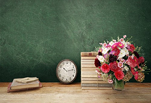 Leyiyi 8x6ft Photography Background Back to School Backdrop Vintage Classroom Books Bouquet Teacher's Day Education Grunge Blackboard Back Season Wooden Table Clock Photo Portrait Vinyl Studio Prop