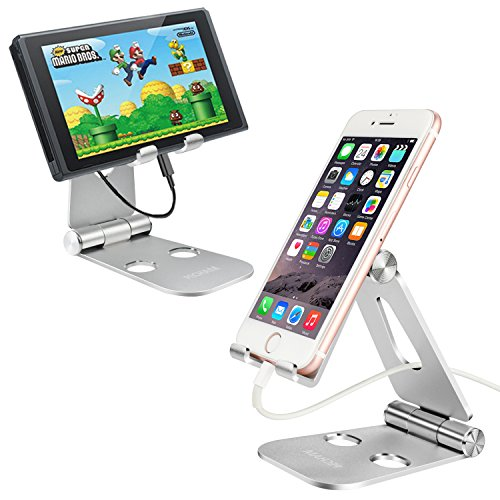 Pecham Portable Foldable Adjustable Cell Phone Desk Stand Mount for Kindle Fire Paperwhite, Iphone 6 6s 7 Plus, Smartphones, Tablets, Nintendo Switch and More Accessories and Holder- Silver