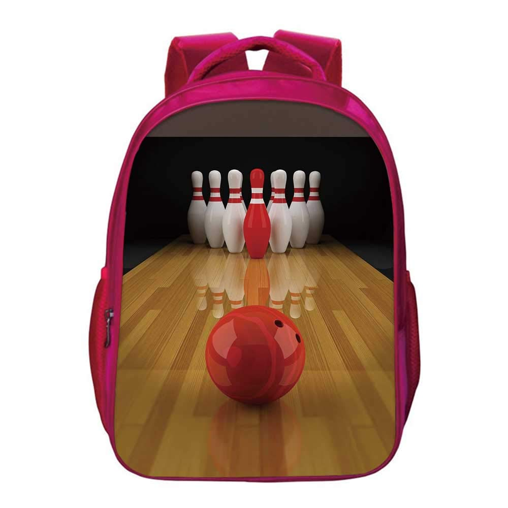 Bowling Party Decorations Printing Backpack,Alley with Red Skittle in Center Target Score Winning Decorative for Kids Girls,11.8''Lx6.3''Wx15.7''H by YOLIYANA