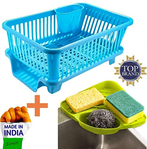 ZOSOE Popular Combo Kitchen Sink Organiser & 3 in 1 Kitchen Sink Dish Rack Drainer Drying Rack Washing Basket with Tray for Kitchen, Dish Rack Organizers, Utensils Tools Cutlery (Multi-Coloured) Price & Reviews