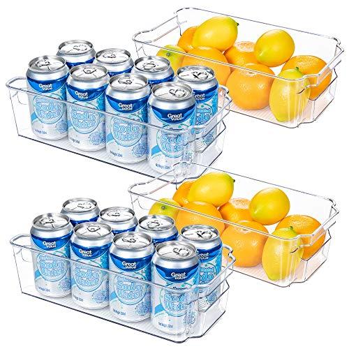 HOOJO Refrigerator Organizer Bins -2pcs Clear Plastic Bins For Fridge, Freezer, Kitchen Cabinet, Pantry Organization and…