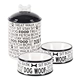 Bone Dry DII Ceramic Pet Food & Water Bowls 6.25'' (Dia) x2.5 (H) and Treat Storage Canister 5.5'' (Dia) x8.25 (H), Set of 3, Perfect Feeding Supplies and Treat Jar for Dogs and Cats - Black Dog Text