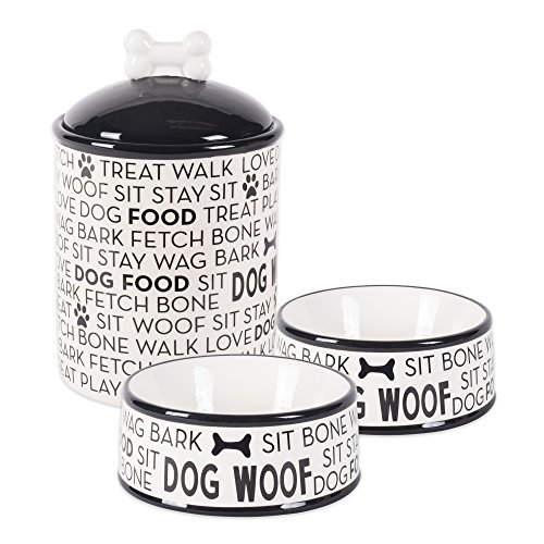 (Bone Dry DII Ceramic Pet Food & Water Bowls 6.25