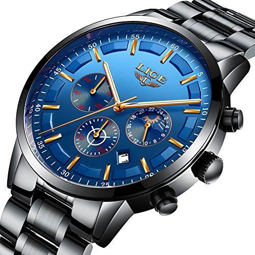 LIGE Men Watch Waterproof Stainless Steel Casual Fashion Dress Business Analog Quartz Watch Sports Chronograph (Black Blue)