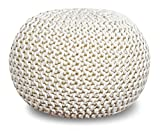 20 Inch High Ottoman Queenzliving 100% Cotton Hand Knitted Twisted Cable Style Dori Pouf/Floor Ottoman Size 20