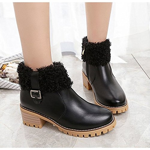 Chunky Fashion Boots Boots Beige for Winter Toe Heel ZHZNVX Booties Round HSXZ Casual Beige Ankle Fall Black PU Comfort Boots Shoes Women's n0v0x81A