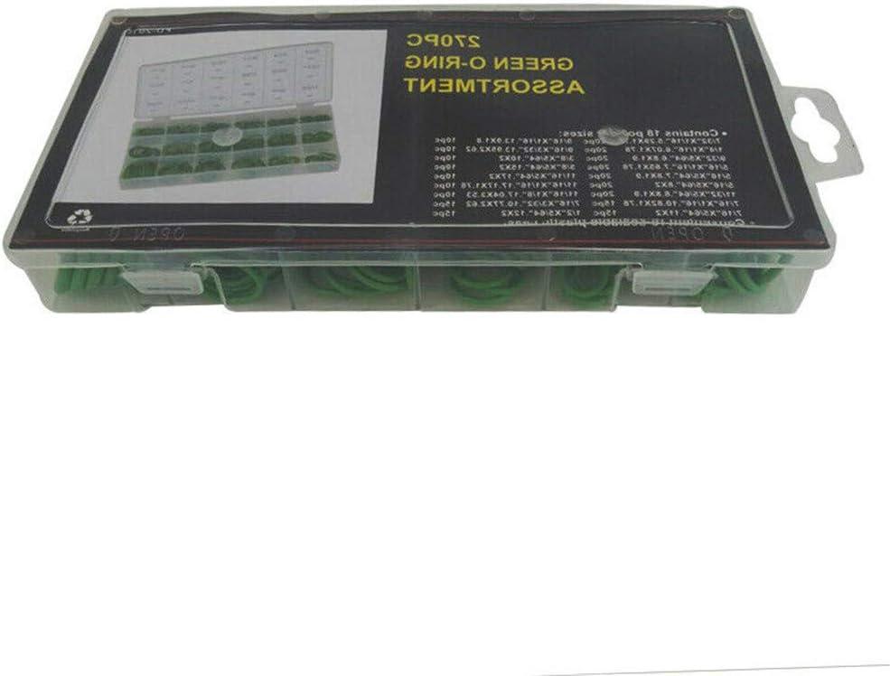 Type O Anneau d/étanch/éit/é Pi/èces de Rechange Kit pour Remplacer Les Anciens Joints Bague Robinet Reseater Laveuse Accessoires Assortiment 270Pcs Vert Joint Torique