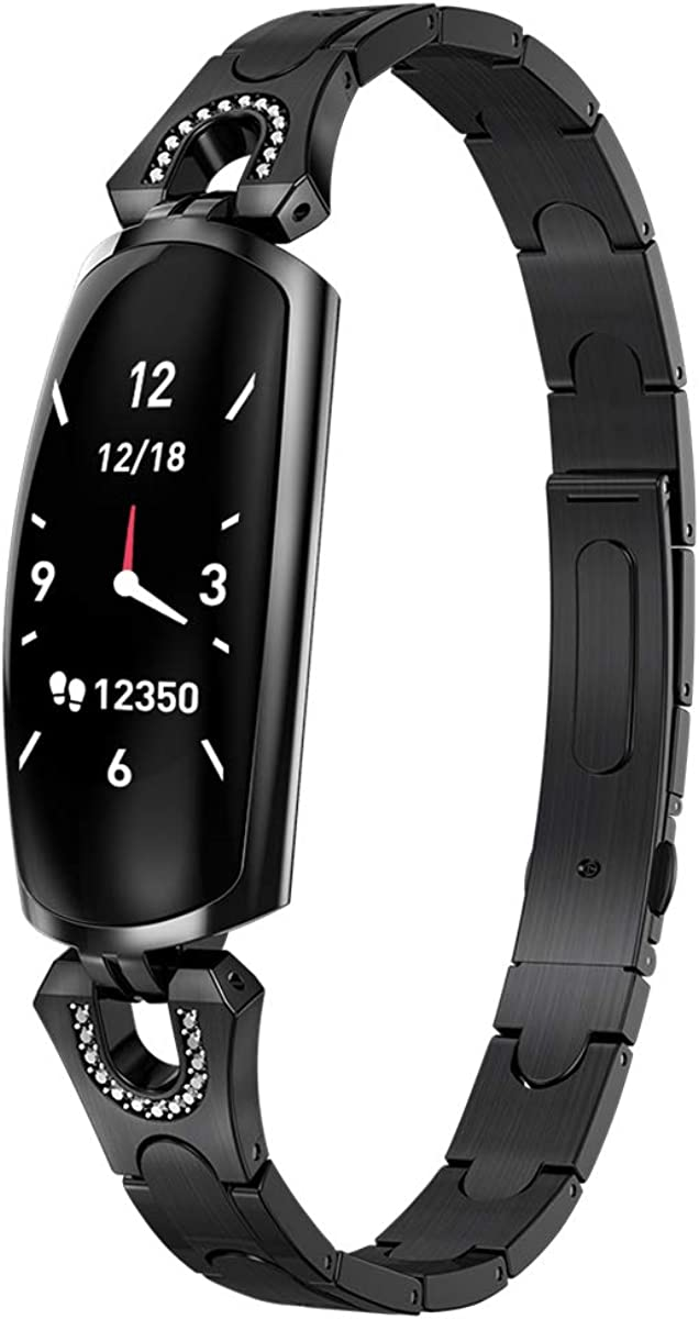 CQHY MALL Bluetooth Stainless Steel Smart Watch Waterproof Fitness Activity Tracker with Heart Rate Monitor Blood Pressure Sport Watch Pedometer Watch for Kids Women and Men
