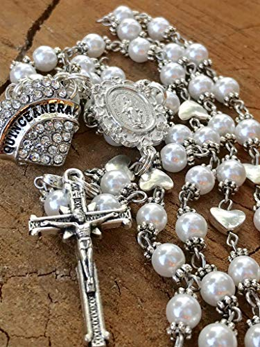 (Quinceanera Themed Catholic Rosary Beads Made With 6mm Glass Pearl Beads. Quinceanera)