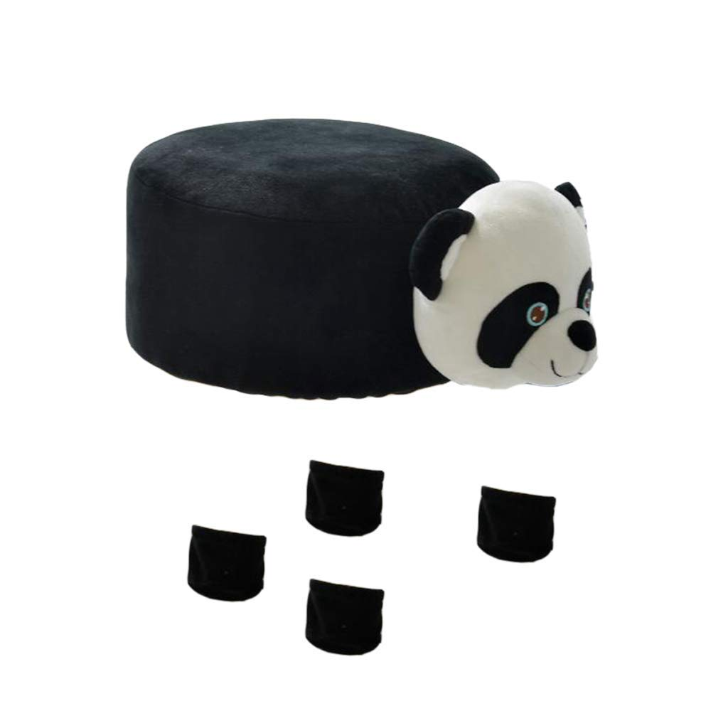 B Blesiya Cute Animal Design Round Chair Stool Cover Children's Furniture Protector - Panda