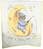 Fairway Needlecraft 92615 Baby Quilt, Sleeping Animals Design, 36 by 50-Inch, White